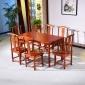 仿古实木家具简单板面餐桌画桌7件套一桌6餐椅组合长餐桌